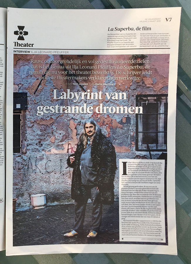 Marta Giaccone, writer Leonard Ilja Pfeijffer for DeVolkskrant, March 2018