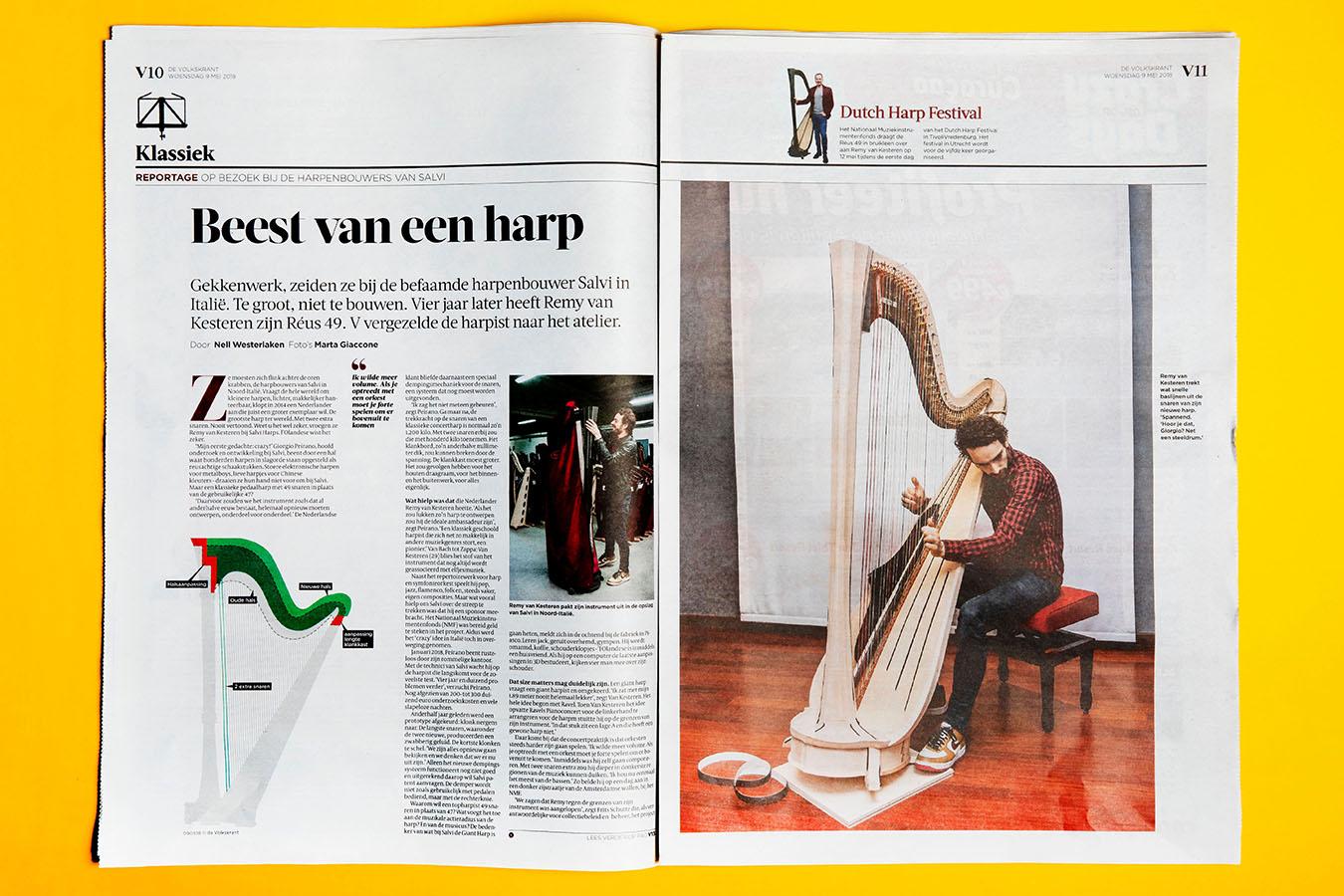 Marta Giaccone, harpist Remy Van Kesteren for DeVolkskrant, May 2018