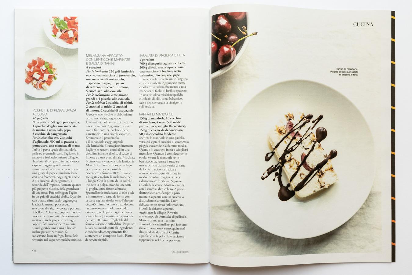 Marta Giaccone, food editorial, D la Repubblica magazine, July 2020