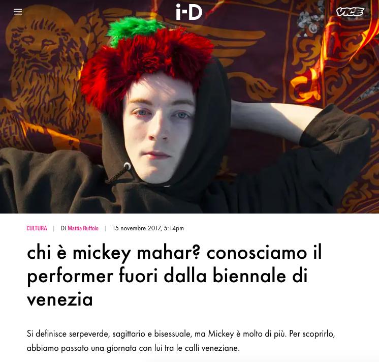 Marta Giaccone, Venice Biennale performer Mickey Mahar for i-D Italia, November 2017