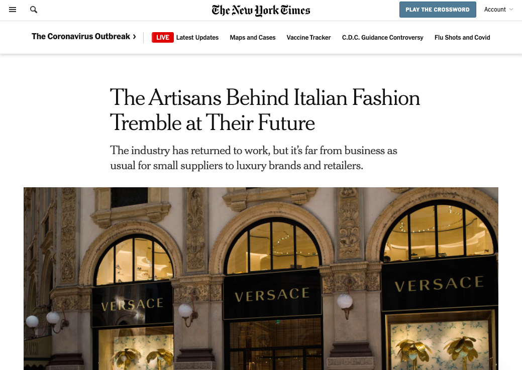 Marta Giaccone, The New York Times, June 2020