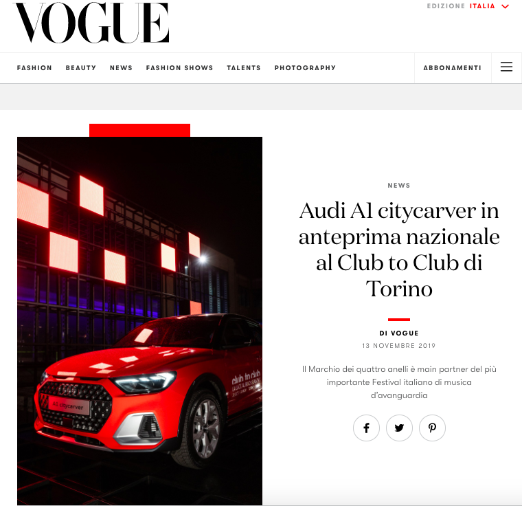Marta Giaccone, Vogue and Audi @Club2Club Torino, November 2019