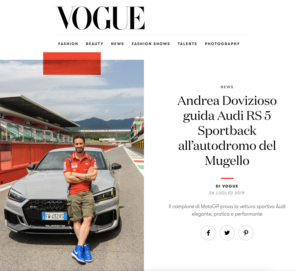 Marta Giaccone, Andrea Dovizioso for Vogue and Audi, July 2019